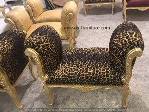 bestselling furniture reproduction gilded wood french baroque bench with velvet fabric tiger pattern