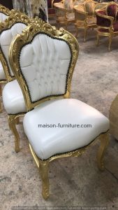 gilded wood french baroque chair with white PU leather fabric is a top selling french furniture