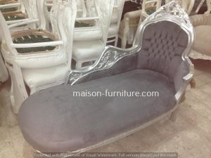 This bestselling french baroque chaise lounge handmade with carved wood, silver leaf finish and velvet grey fabric