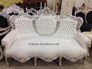 French royal sofa handmade with shiny silver leaf wood and white PU Leather fabric is a bestseller baroque furniture