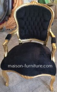 this top seller furniture is a gilded wood Louis XV baroque armchair with black velvet fabric