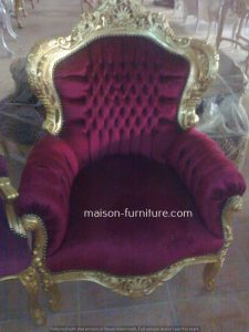 Gilded wood Baroque royal armchair with dark red velvet fabric