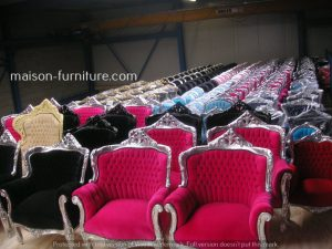 We are furniture wholesaler of Baroque armchairs with different finishing and fabrics at maison furniture warehouse