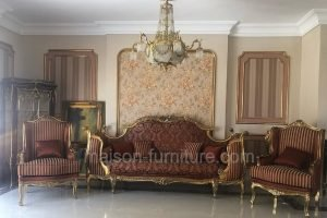 This French Salon is gilded with antique italian gold leaf and consists of a Classic Bed Sofa with 2 bergere armchairs