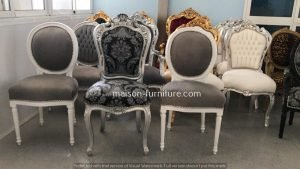 antique french baroque chairs with silver leaf finish and grey velvet fabric, order furniture online from maison furniture